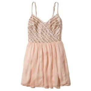 Hollister Blush Sequin Skater Mini Dress